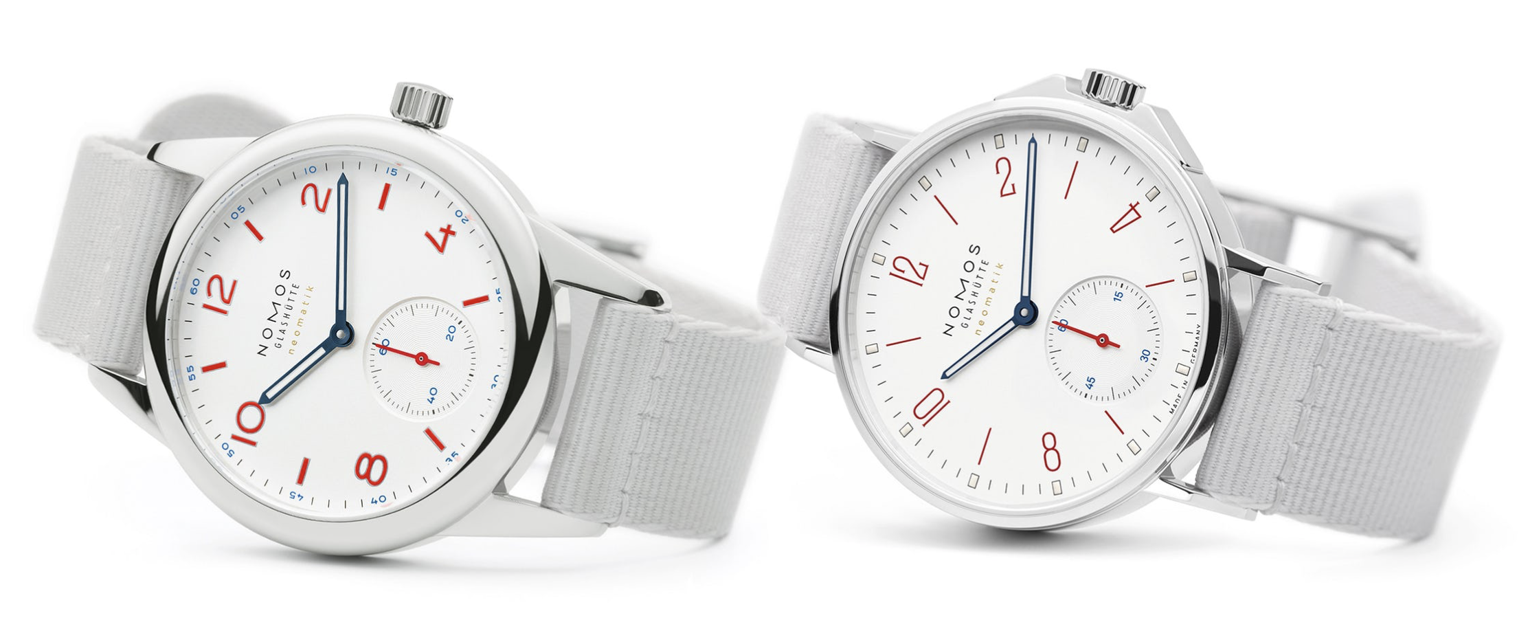 NOMOS新发布两款Aqua全新白色面盘腕表564 (Ahoi) 和744 (Club)