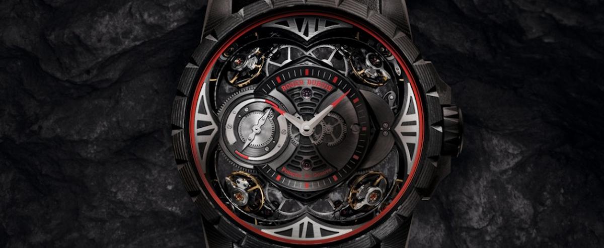 外观大器但戴起来不沉重 罗杰杜彼Excalibur碳纤维四擒纵腕表