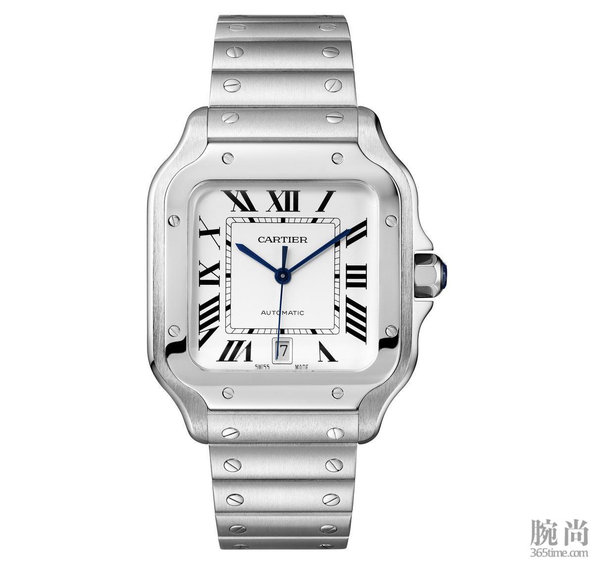 图4:Santos-de-Cartier卡地亚山度士腕表,大号表款,精钢.jpg