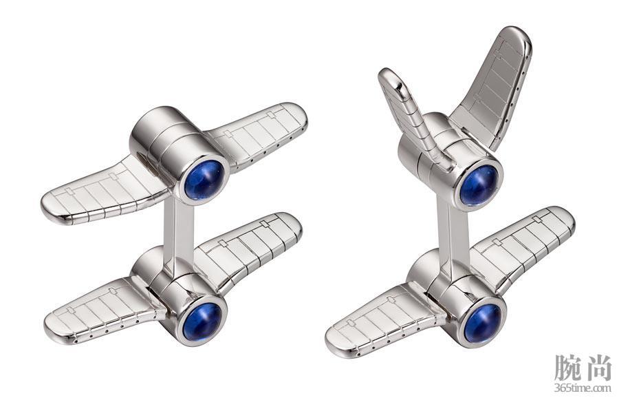 图14:Santos-de-Cartier双翼飞机造型袖扣,纯银,镀钯饰面,合成尖晶石.jpg