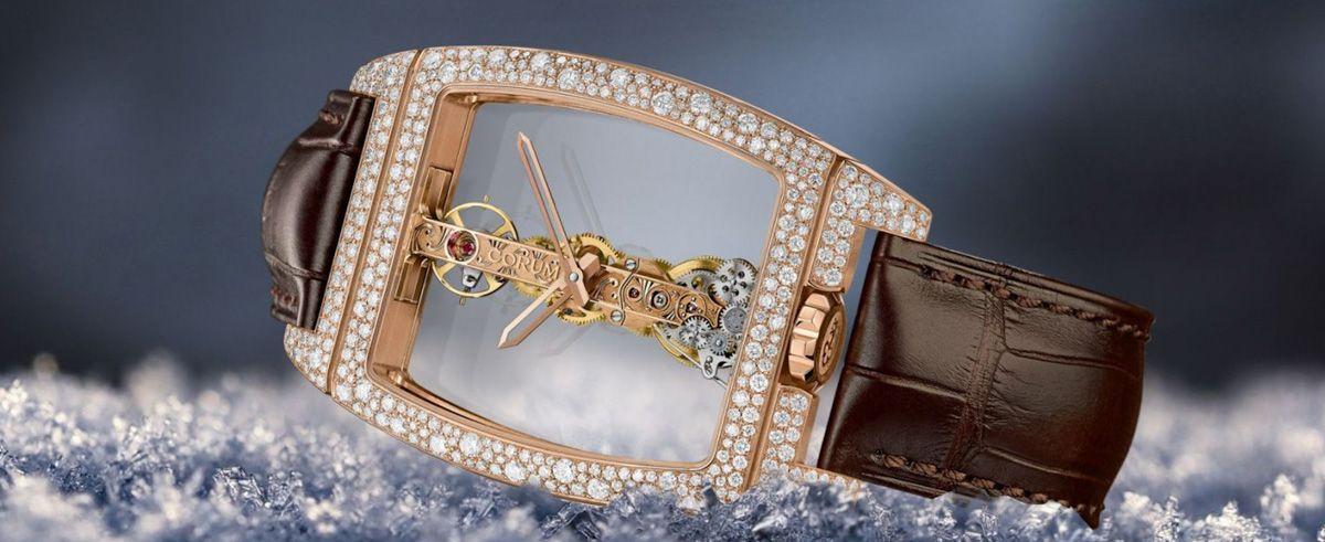CORUM昆仑表发布全新金桥雪花镶钻男女款腕表