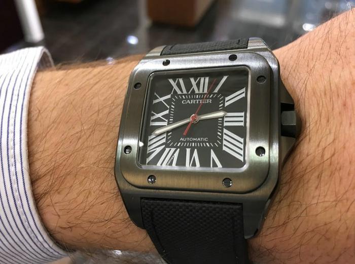卡地亚Santos 100 ADLC碳镀层腕表——全新黑金刚!