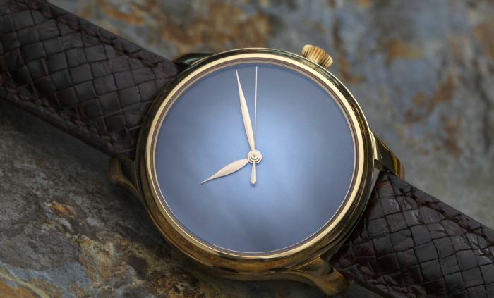 亨利慕时勇创者系列红金款大三针电光蓝概念腕表——极简主义的巅峰之作!