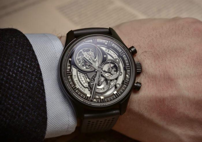 真力时El Primero系列陶瓷陀飞轮镂空计时腕表——了不起的暗夜绅士!