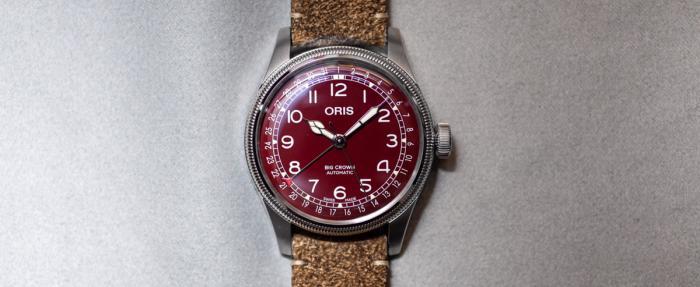 Oris豪利时大表冠指针式日期红色面盘腕表点评
