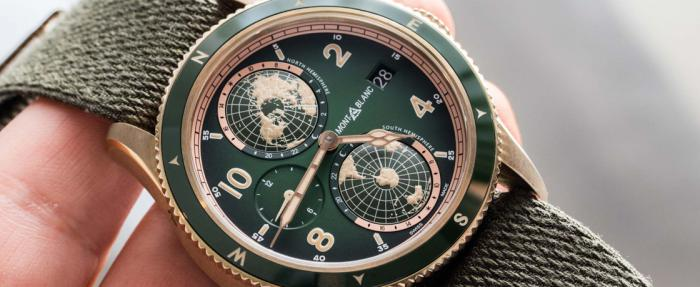 万宝龙1858系列青铜表2019年全面改换绿面,南北半球世界时限量款颜值爆表