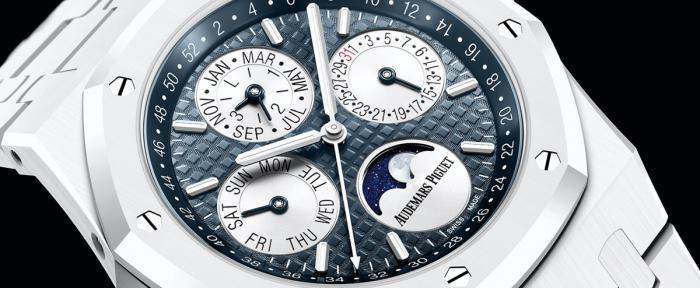 独家点评爱彼新款皇家橡树万年历白色陶瓷腕表