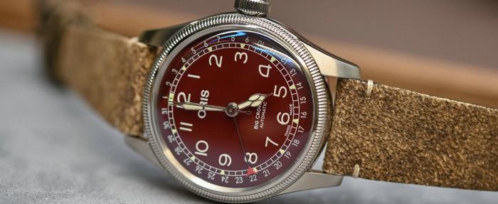 暗色飞扬——豪利时大表冠系列Pointer Date暗红表盘腕表