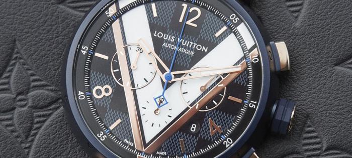 Louis Vuitton 推出 Tambour Damier Cobalt 计时码表:蓝色棋盘格