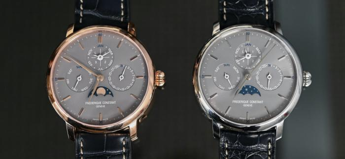 瑞士手表中最低调的万年历-康斯登Slimline自产机芯灰盘万年历腕表