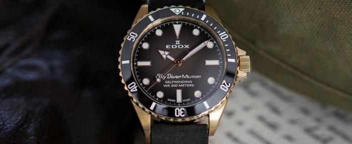 Edox SkyDiver Military青铜腕表------拥有谜样过去的青铜表