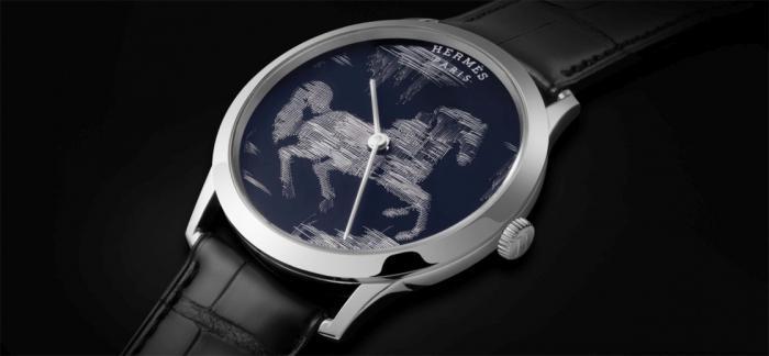 Hermès爱马仕发布Slim d'Hermès Cheval Ikat金线刺绣工艺腕表