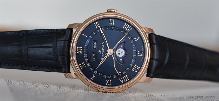玫瑰金表壳搭配深蓝盘面的宝珀Villeret全历月相腕表终于来了