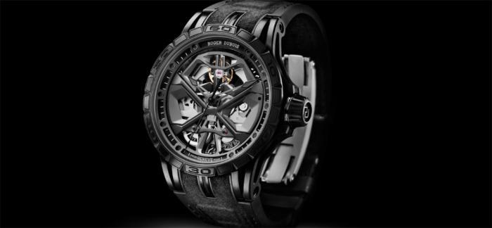 罗杰杜彼新款Excalibur Huracán黑色DLC钛金属自动上链腕表