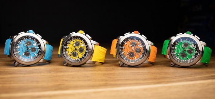 宝齐莱推出柏拉维三地时间计时码表,春、夏、秋和冬四种配色方案