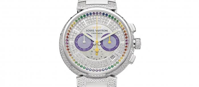 Louis Vuitton 推出 Tambour Chronograph LV277 高级珠宝计时码表:彩虹蓝宝石