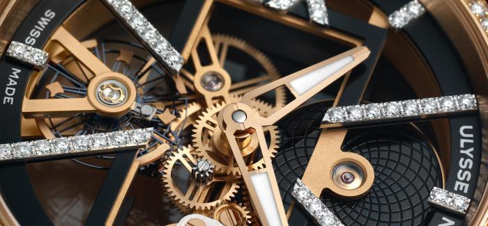 雅典表全新推出两款镶钻款式镂空X璨光腕表