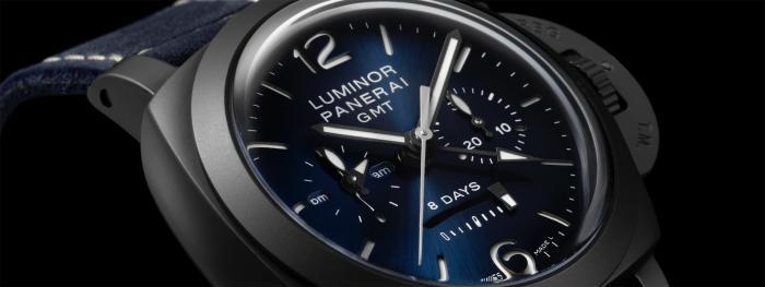 【2021钟表与奇迹】沛纳海LUMINOR CHRONO MONOPULSANTE GMT BLU NOTTE庐米诺系列单按钮计时两地时腕表