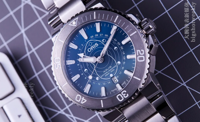 带潮差显示的ORIS豪利时AQUIS瓦登海限量版腕表实拍 丨 大腕钟表新媒体原创