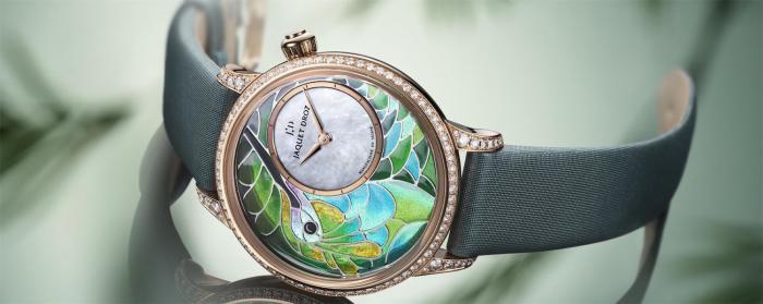 雅克德罗推出全新空窗珐琅蜂鸟时分小针盘腕表