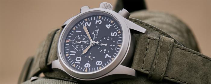 整装待发的复古军事设计-汉米尔顿推出卡其野战系列自动计时码表