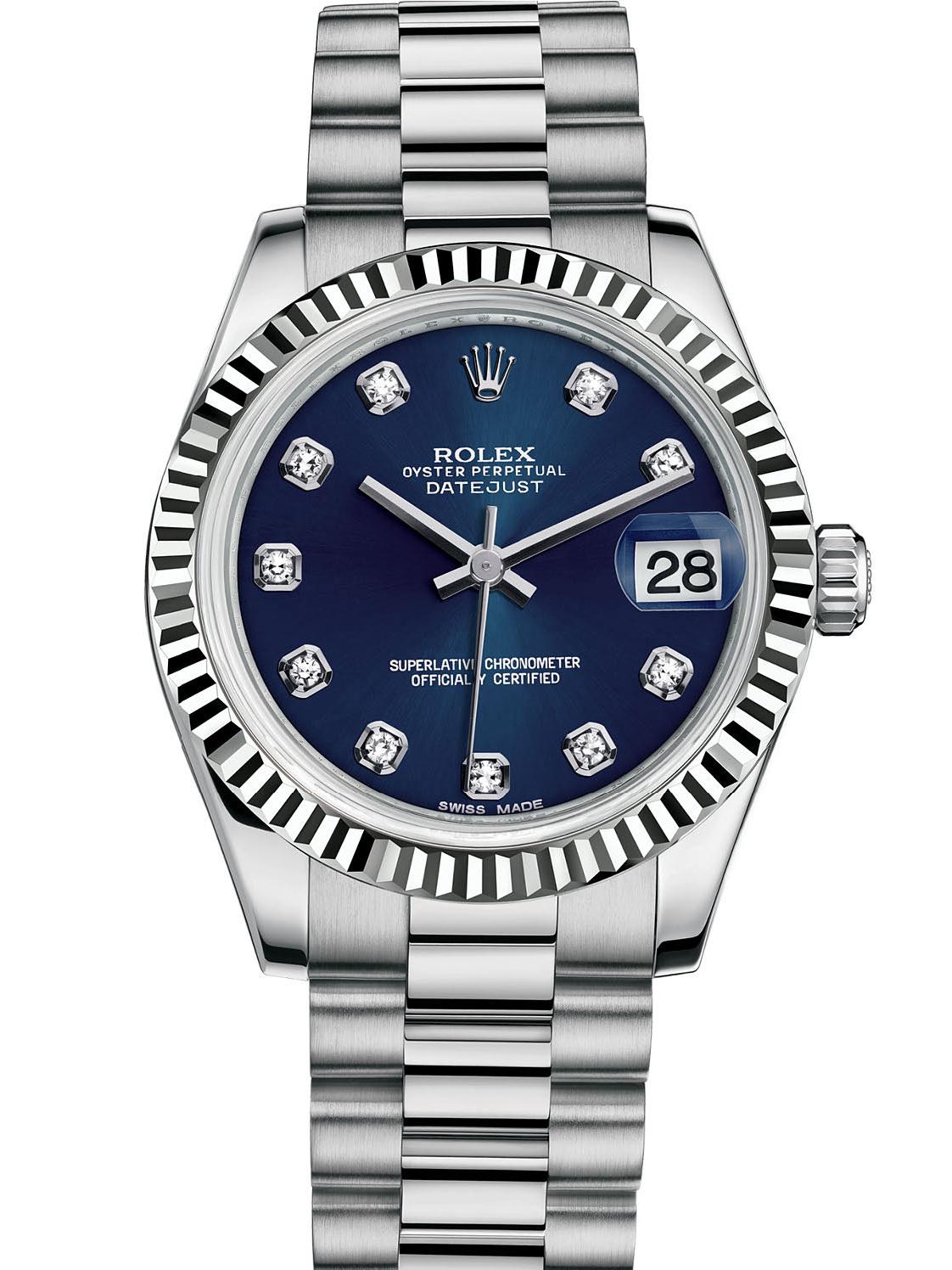 劳力士女装日志型31白金牙圈蓝面钻标女表178279-0033