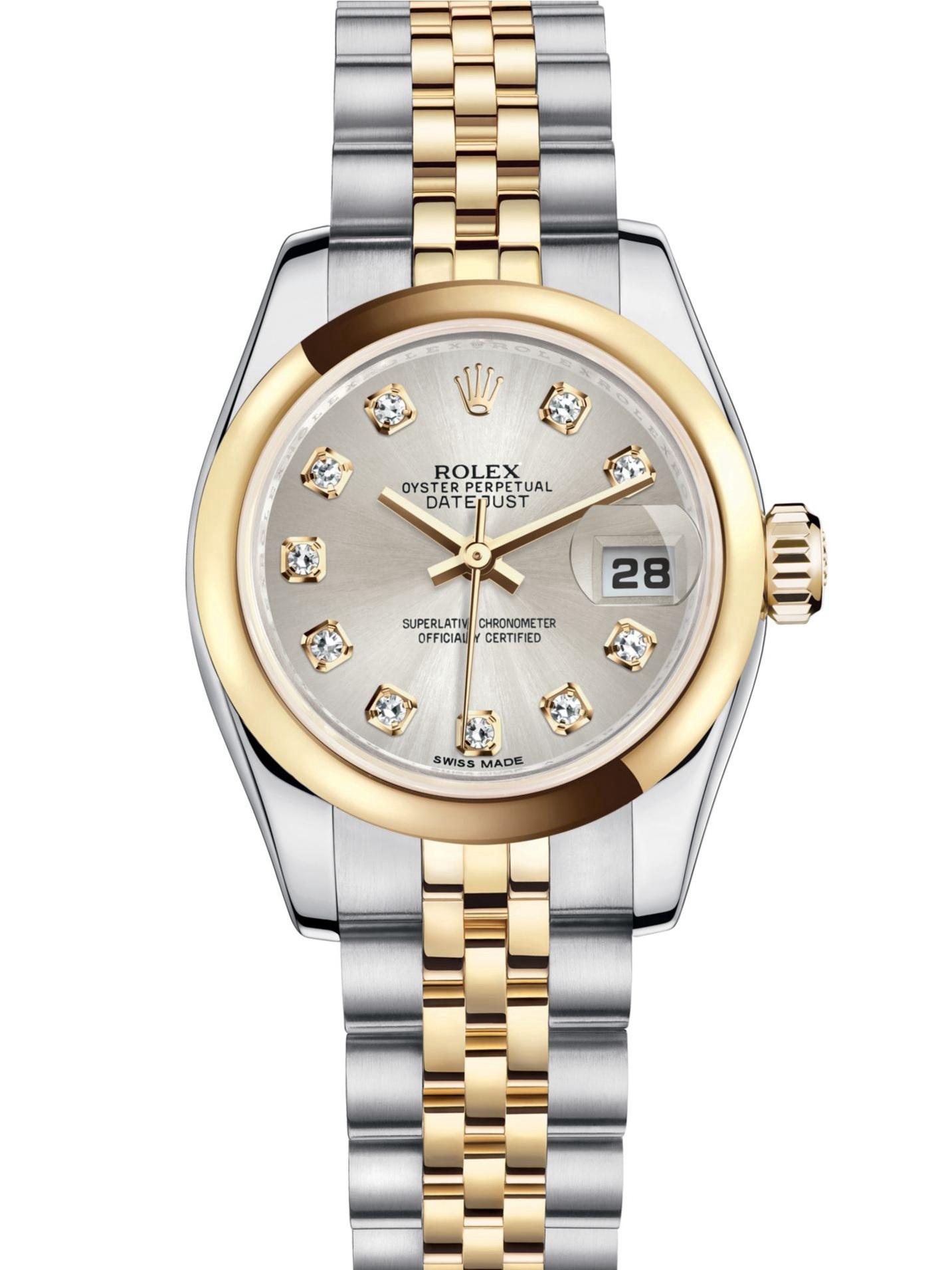劳力士女装日志型26黄金钢银面钻标女表179163-0062