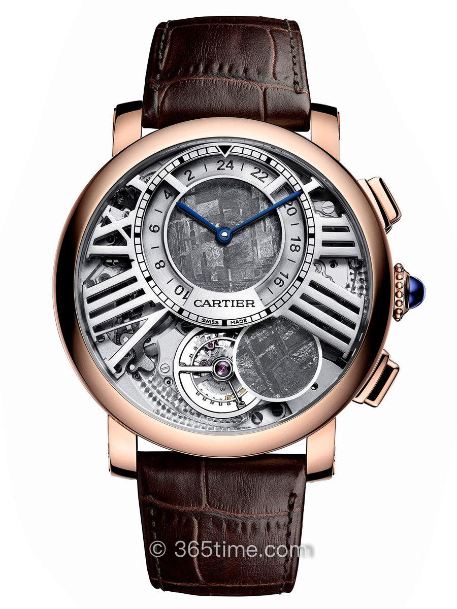 卡地亚Rotonde de Cartier系列手动上链陀飞轮双时区月相腕表WHRO0013