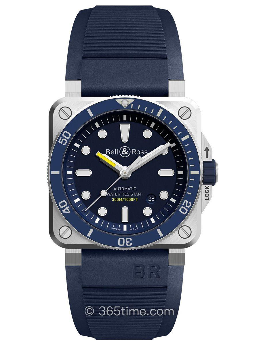 柏莱士Instruments系列方形潜水腕表BR03-92 Diver Blue BR0392-D-BU-ST  SRB