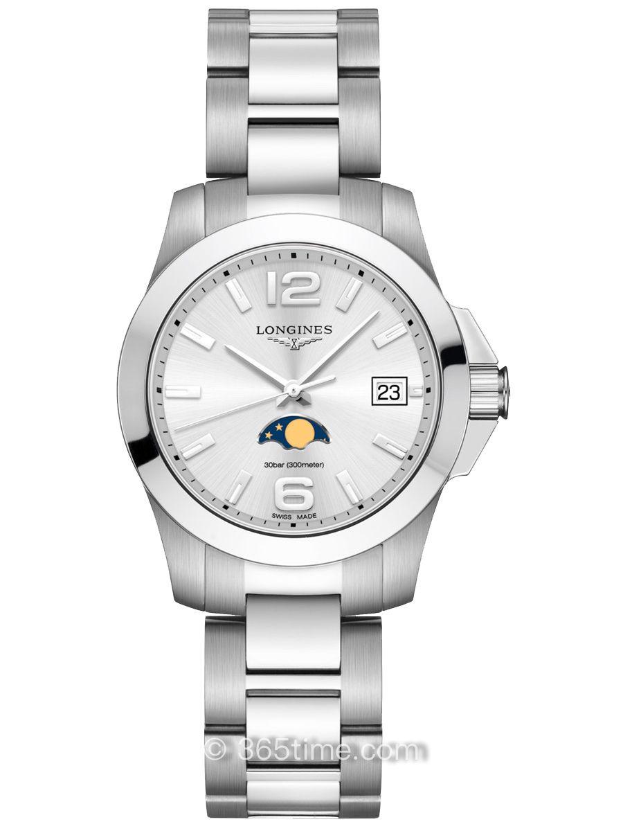 浪琴康卡斯系列女款石英月相腕表L3.381.4.76.6