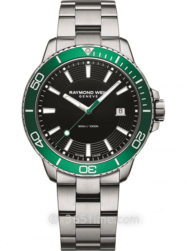 蕾蒙威Tango探戈系列300米防水男士石英GMT绿色潜水腕表8260-ST7-20001