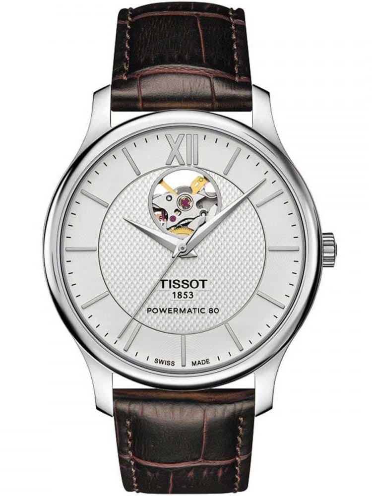 天梭T-Classic系银盘男士自动机械腕表T063.907.16.038.00