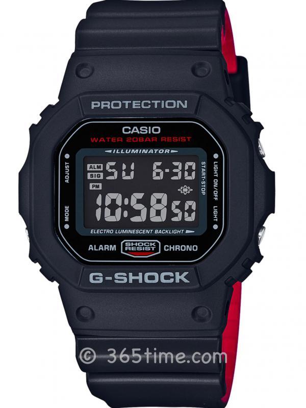 卡西欧G-SHOCK系列雷鬼色彩Digital数字显示腕表DW5600HR-1GD