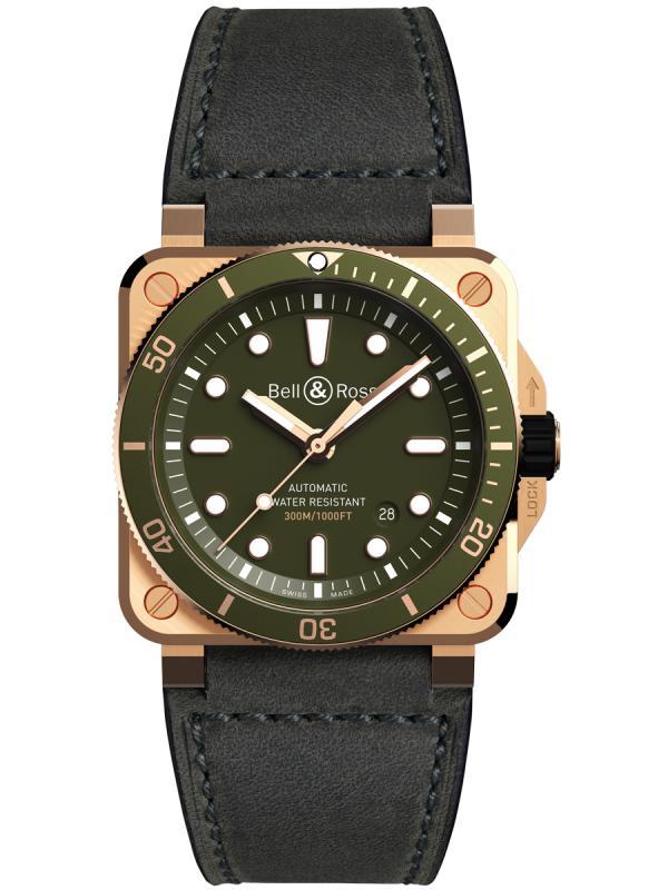 柏莱士BR03-92 DIVER 绿色青铜版 潜水腕表BR0392-D-G-BR/SCA