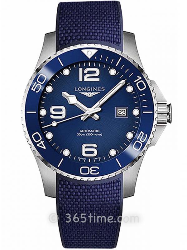 浪琴康卡斯陶瓷表圈蓝色橡胶带潜水运动表L3.782.4.96.9