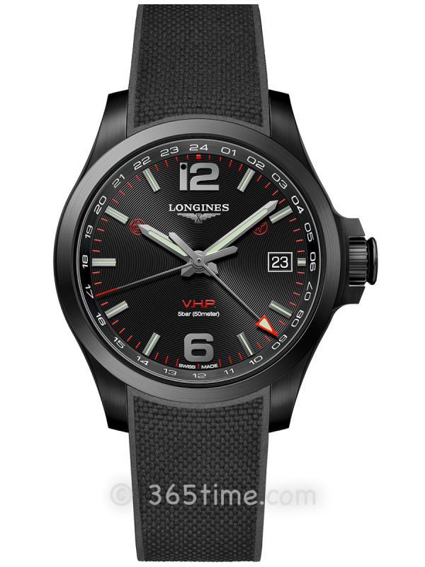 浪琴康卡斯系列V.H.P.GMT光感设置男士石英腕表L3.718.2.56.9