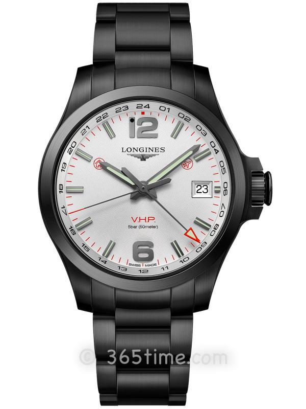 浪琴康卡斯系列V.H.P.GMT光感设置男士石英腕表L3.718.2.76.6