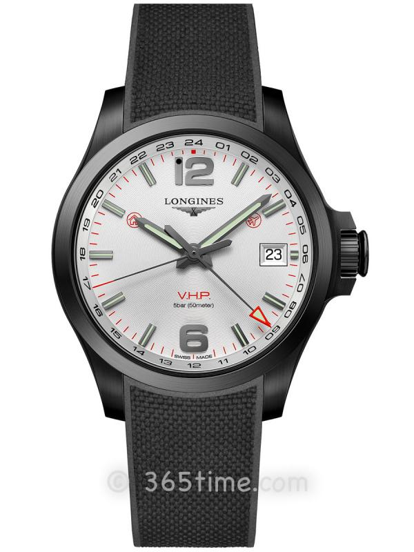 浪琴康卡斯系列V.H.P.GMT光感设置男士石英腕表L3.718.2.76.9