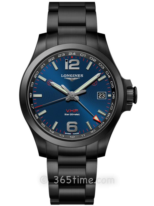 浪琴康卡斯系列V.H.P.GMT光感设置男士石英腕表L3.718.2.96.6