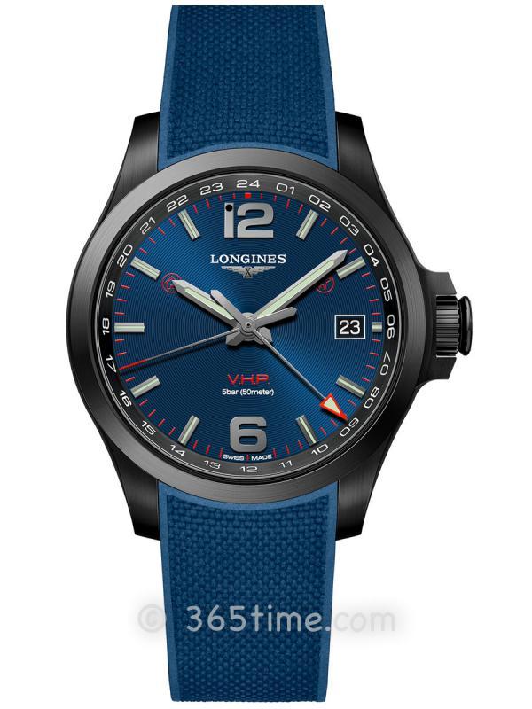 浪琴康卡斯系列V.H.P.GMT光感设置男士石英腕表L3.718.2.96.9