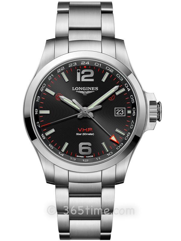 浪琴康卡斯系列V.H.P.GMT光感设置男士石英腕表L3.718.4.56.6