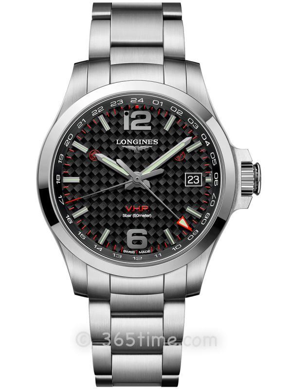 浪琴康卡斯系列V.H.P.GMT光感设置男士石英腕表L3.718.4.66.6