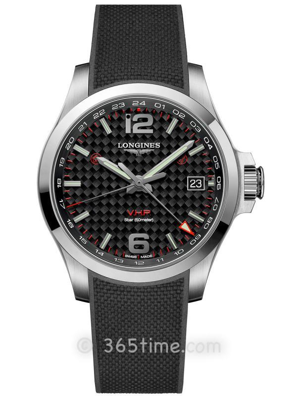 浪琴康卡斯系列V.H.P.GMT光感设置男士石英腕表L3.718.4.66.9