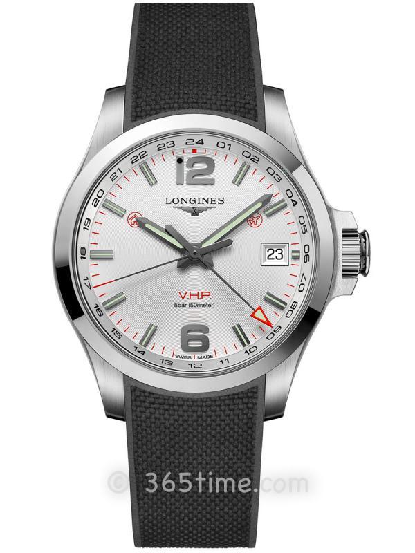 浪琴康卡斯系列V.H.P.GMT光感设置男士石英腕表L3.718.4.76.9