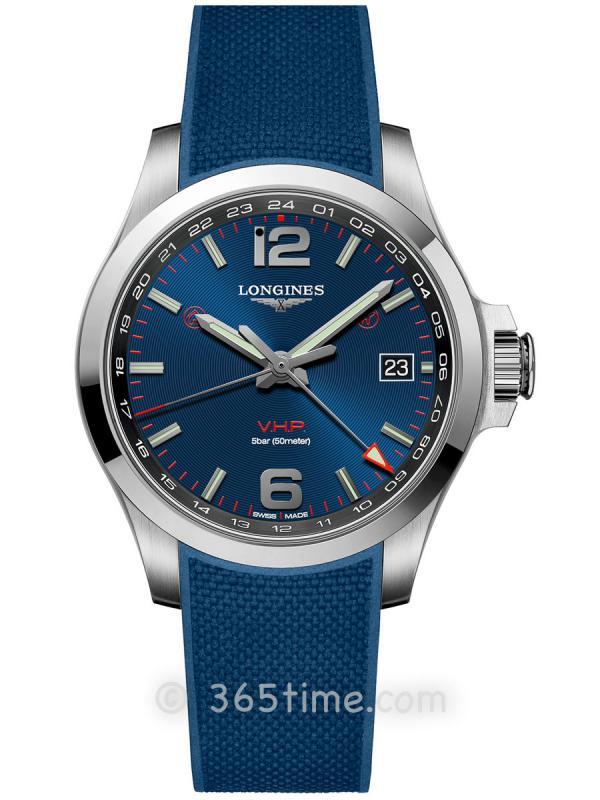 浪琴康卡斯系列V.H.P.GMT光感设置男士石英腕表L3.718.4.96.9