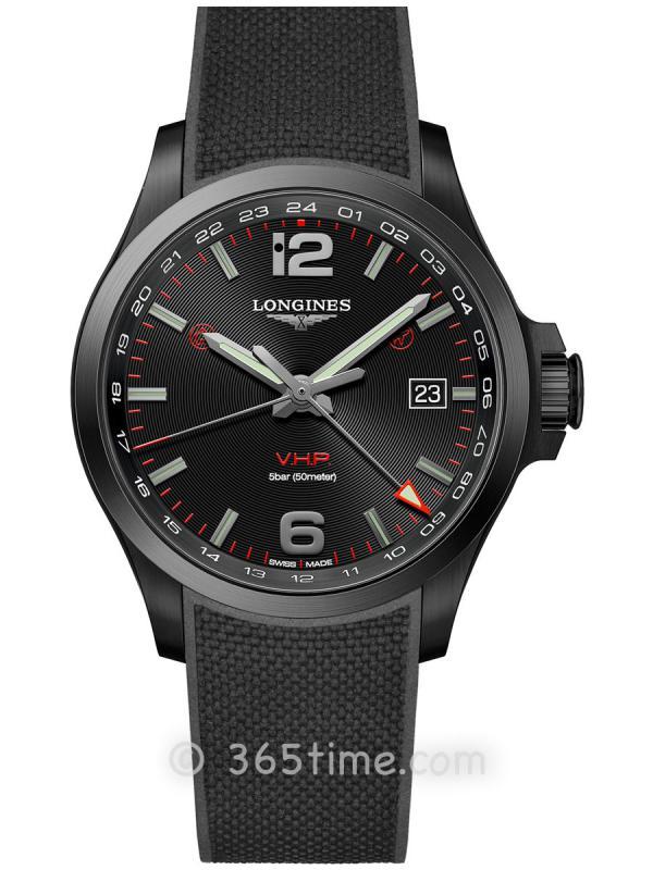 浪琴康卡斯系列V.H.P.GMT光感设置男士石英腕表L3.728.2.56.9