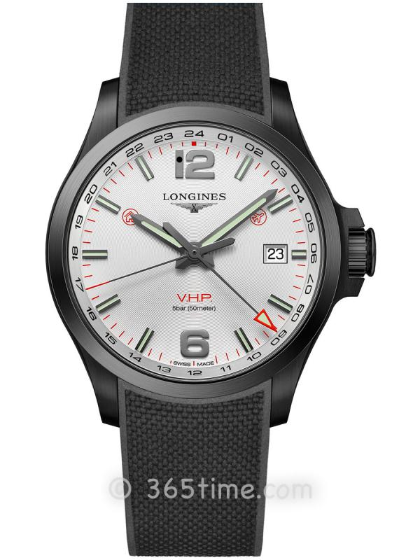 浪琴康卡斯系列V.H.P.GMT光感设置男士石英腕表L3.728.2.76.9