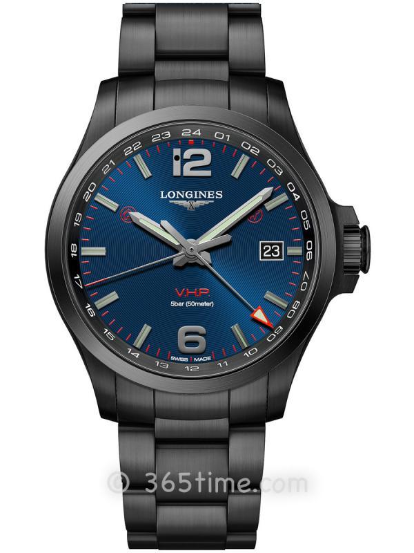 浪琴康卡斯系列V.H.P.GMT光感设置男士石英腕表L3.728.2.96.6