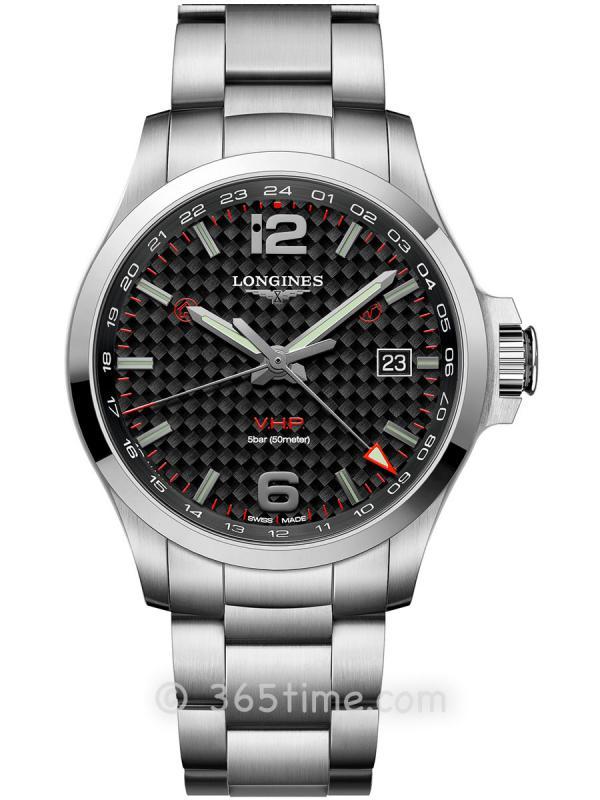 浪琴康卡斯系列V.H.P.GMT光感设置男士石英腕表L3.728.4.66.6