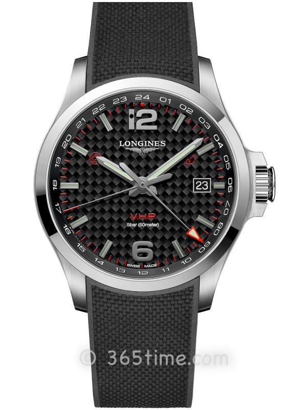 浪琴康卡斯系列V.H.P.GMT光感设置男士石英腕表L3.728.4.66.9